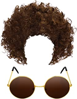 Frienda Clown Wig Curly Hair Wig and Hippie Round Sunglasses for Cosplay Accessories