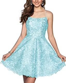 Jonlyc A-Line Spaghetti Straps Lace Applique Backless Short Homecoming Dresses