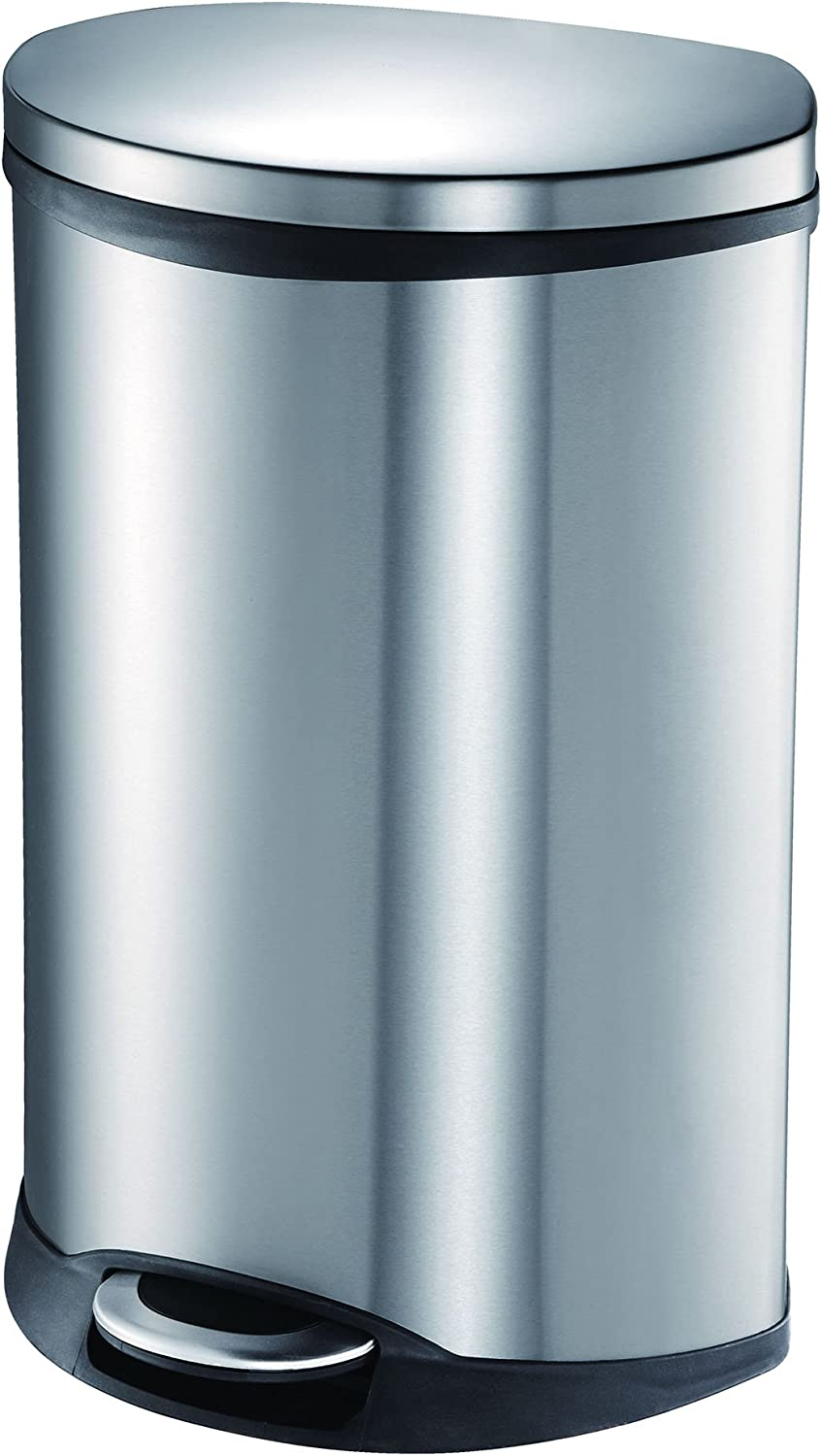 EKO 92185-1 Oblong Shell 13 Gallon Stainless Steel Step Trash Can with Lid   50 Liter Metal Waste Bin