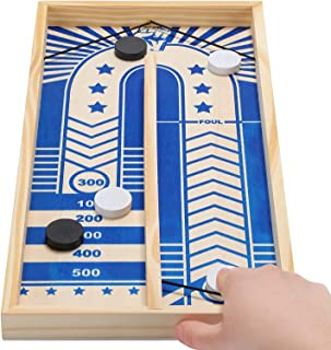 Desktop Shuffleboard Game Set for Kids and Adults, Fast Sling Puck Game, Tabletop Slingshot Wooden Game Toy, Family Fun Ga...