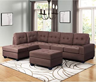 MOOSENG, 3 Piece Sectional Furniture Set with Chaise Lounge and Storage Ottoman L Shape Couch Sofas, Browm