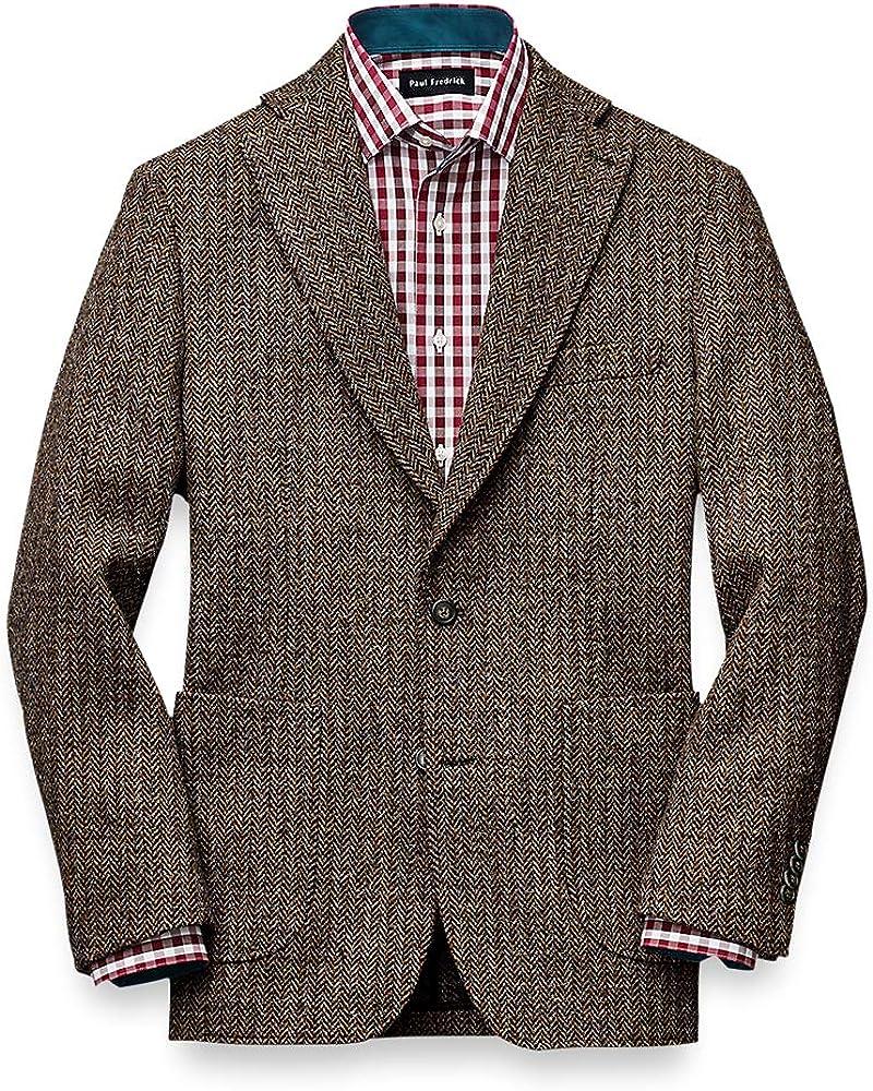 Paul Fredrick Men's Classic Fit Harris Tweed Notch Lapel Sport Coat