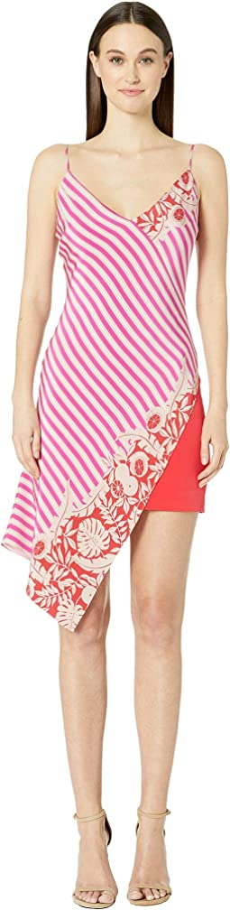 Deep V Sleeveless Mini Dress with Asymmetrical Ove