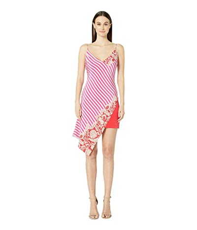 Cushnie Deep V Sleeveless Mini Dress with Asymmetrical Ove (Tropical Stripe) Women