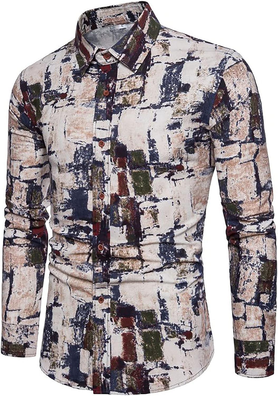 Mens Hawaiian Shirts Floral Printed Cotton Linen Casual Long Sleeve Button Down Beach Dress Shirts