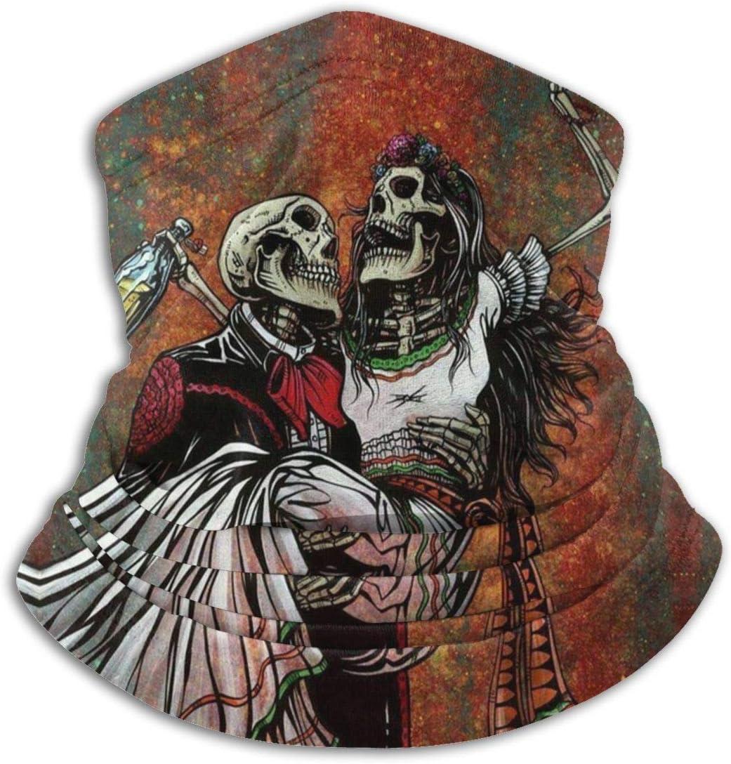 CLERO& Scarf Fleece Neck Warmer Skull Skeleton Hug Lovers Windproof Winter Neck Gaiter Cold Weather Face Mask for Men Women