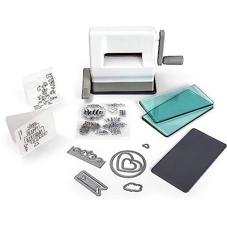 Sizzix Sidekick Starter Kit, machine de découpe et de gaufrage manuelle équipée d'un socle ventouse avec matrices Framelits et Thinlits, classeur de gaufrage Textured Impressions et plus encore
