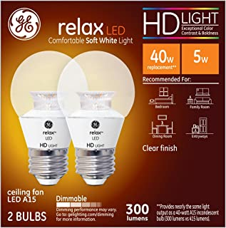 GE Lighting Relax LED HD 4-watt (40-watt Replacement), 300-Lumen A15 Light Bulb with Medium Base, Soft White, 2-Pack