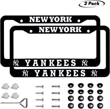 Generies HM-DC 2pcs Baseball Team Logo License Plate Frames with Screw Caps Set Stainless Steel Frame Applicable to US Standard Cars License Plate fit Yankees