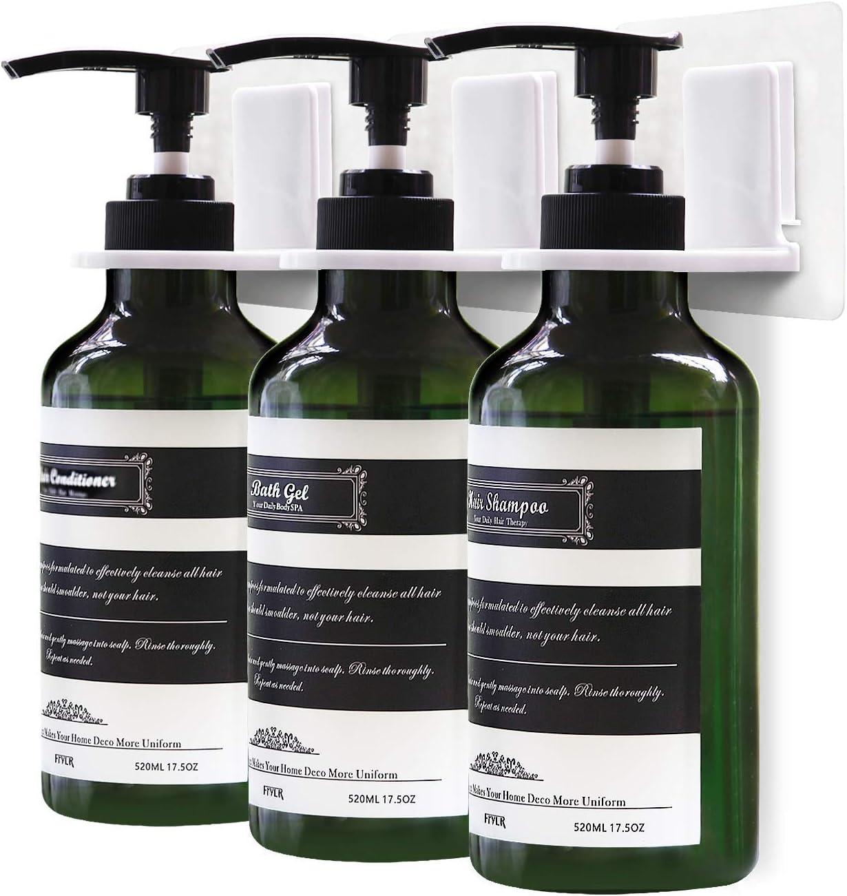 Frylr 3-Chamber Soap Dispenser, Wall Mount Shower Pump, 3 x 17.5 Oz, PET Plastic Bottles, Stick Without Drilling, Water Resistant Sticker, Dark Green : Home & Kitchen