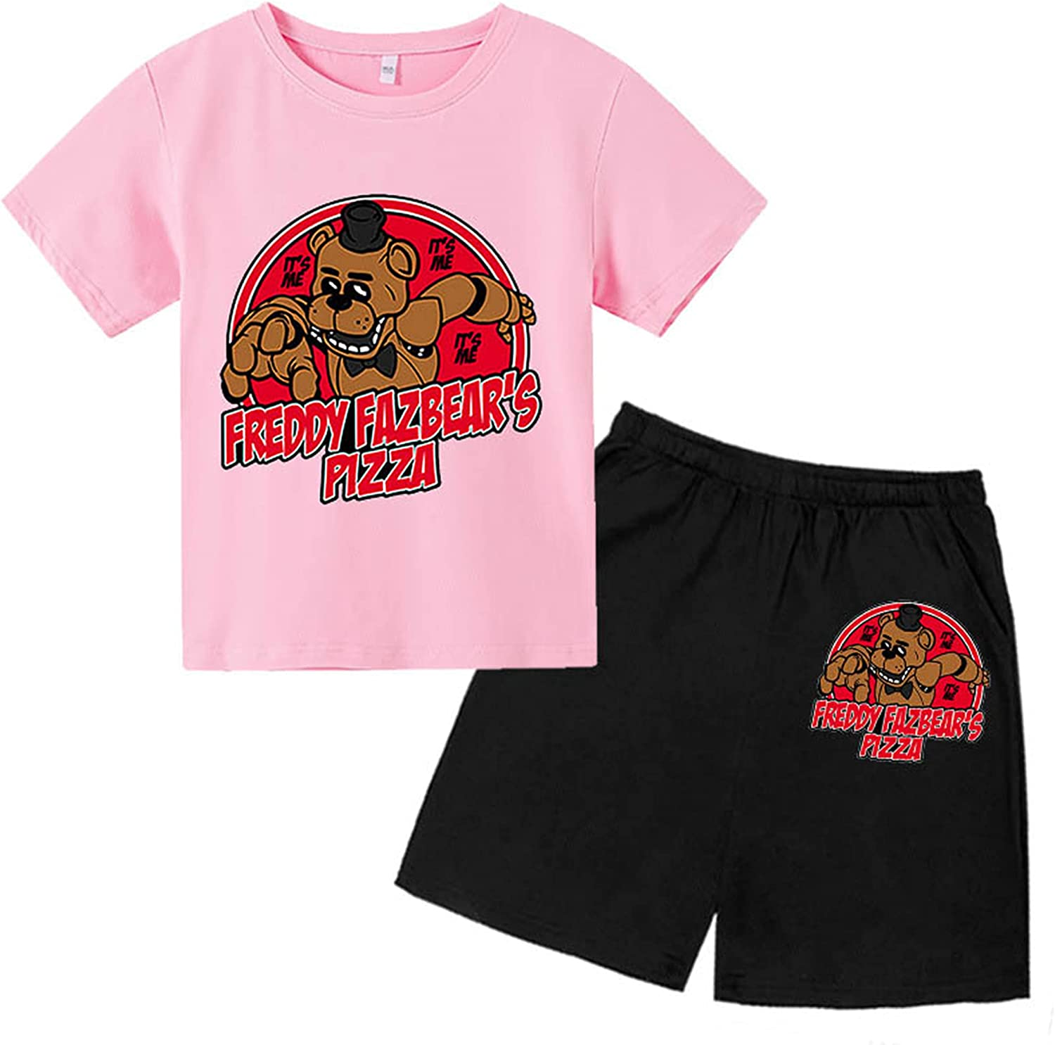 Five Nights at Fre-ddy's Casual T-Shirt Short Sleeve Shorts Suit for Boys and Girls