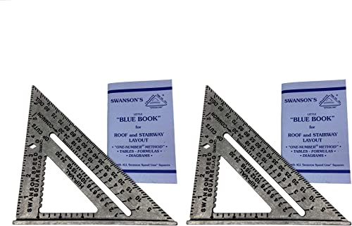 Swanson Tool Co S01012PK Value Pack with Two 7-inch Speed Square Layout Tools - includes Two Blue Books, Silver