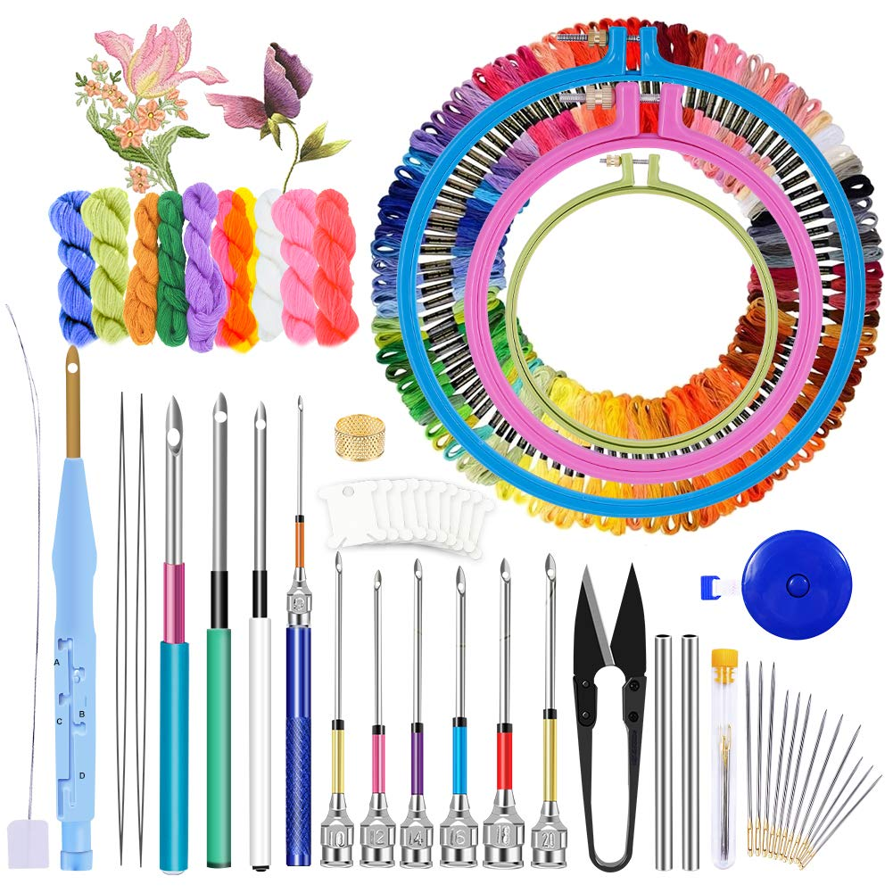 Jupean Embroidery Punch Needle, 156 Pcs Punch Needle Tool with Needle Punch, 110 Pcs Embroidery Thread, Embroidery Hoops, Embroidery Needles, Punch Needle Kit for Beginners
