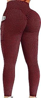 ReooLy Women Butt Lifting Leggings with Pocket, High Waisted Bubble Hip Lift Yoga Pant Honeycomb Yoga Running Leggings Wom...