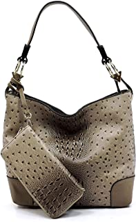 2 PC Set Ostrich Croco Embossed Vegan Faux Leather Hobo Shoulder Bag Classic Bucket Purse with Matching Wallet