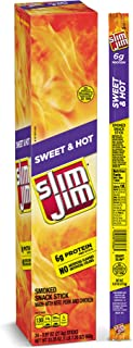 Slim Jim Giant Smoked Meat Stick, Sweet & Hot Flavor, Keto Friendly, .97 Oz. 24-Count