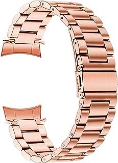 Galaxy Watch 42mm Band, TRUMiRR Solid Metal Stainless Steel Watchband Zero Gap Curved End Strap Men Women Wrist Bracelet Wristband for Samsung Galaxy Watch 42mm (SM-R810/R815), Rose Gold