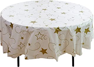 Exquisite 12 Pack Premium Holiday Design Round Plastic Tablecloth - Gold Star On White Disposable Plastic Tablecloth for Christmas - 84 in. Round