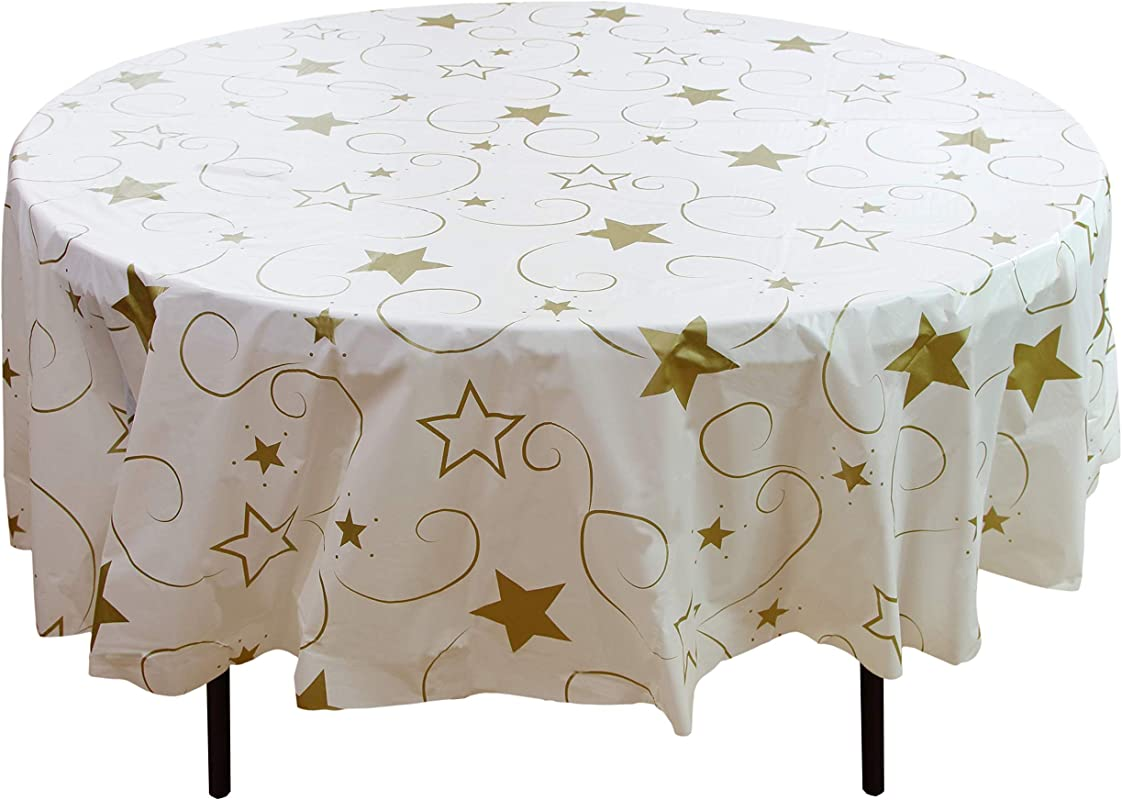 Exquisite 12 Pack Premium Holiday Design Round Plastic Tablecloth Gold Star On White Disposable Plastic Tablecloth For Christmas 84 In Round