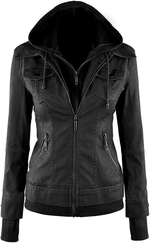 TheSmartSales Biker Faux Leather Jacket for Women