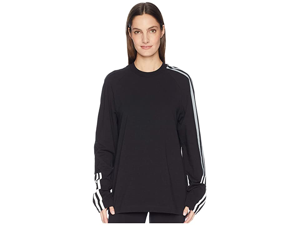 Image of adidas Y-3 by Yohji Yamamoto 3 Stripe Long Sleeve Unisex Tee (Black/Core White) T Shirt