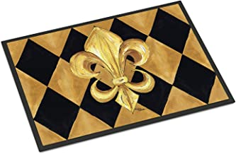 "Caroline's Treasures Black and Gold Fleur De Lis New Orleans Indoor or Outdoor Doormat, 24"" x 36"", Multicolor"