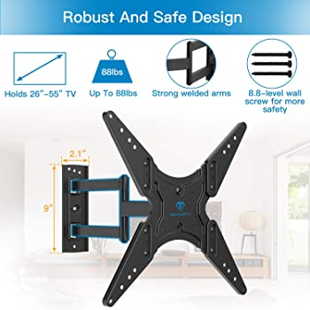 PERLESMITH TV Wall Mount for Most 26-55 Inch Flat Curved TVs with Swivels, Tilts & Extends 19.5 Inch - Wall Mount TV ...