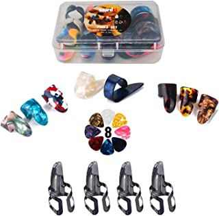 Thumb Finger Picks Plectrum With Plastic Picks Case, SUNLP Stainless Steel Metal Celluloid Guitar thumb finger picks and Free 8pcs 0.46mm Guitar Picks For Mandolin Banjo Harp Thumb Finger Picks