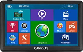 CARRVAS GPS car Navigation, 8G-256M Memory 7-inch Display, Multi-Language Broadcast of The Latest North American map, Free map Update for Life