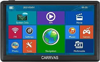CARRVAS GPS coche navegación, 8G-256M memoria 7 pulgadas, multilingüe difusión del último mapa de América del Norte, actualización de mapas gratis para la vida