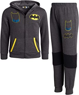 Warner Bros. Boys and Toddlers 2-Piece Fleece Jogger Set with Zip-Up Hoodie : Batman and Superman