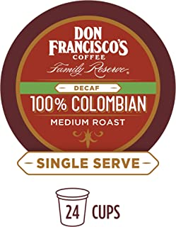 Don Francisco's 100% Decaf Colombia Supremo (24 Count) Single-Serve Coffee Pods, Compatible with Keurig K-Cup Brewers
