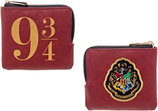 9 3/4 and Hogwarts Crest Womens L-Zip Wallet,Red,One Size