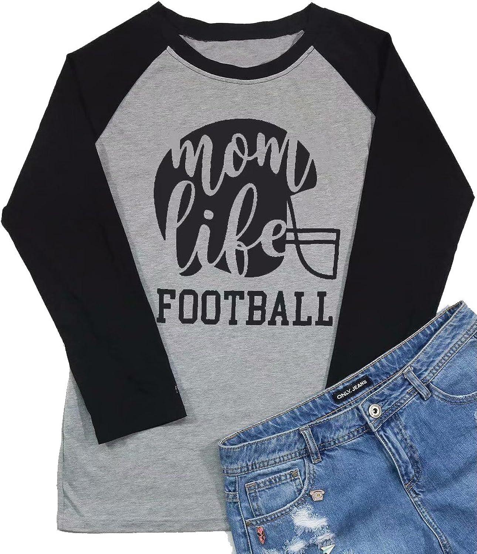 DUTUT Football Mom Life Raglan Long Sleeve Baseball T Shirt Women Funny Letter Printed Mom Graphic Tee Tops