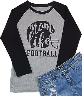 Football Mom Life Raglan Long Sleeve Baseball T Shirt Women Funny Letter Printed Mom Graphic Tee Tops