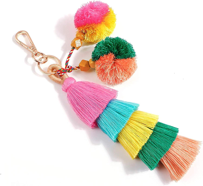 Colorful Boho Pom Pom Tassel Summer Charm Key Chain Beach Shells Keychain Car Keyring Handbag Bag Purse Pendant