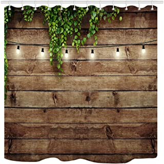 KOTOM Vintage Wooden Board Shower Curtain, Green Leaves on Wood, Waterproof Polyester Fabric Bathroom Decor, Bath Curtains Accessories, with Hooks, 69X70 Inches