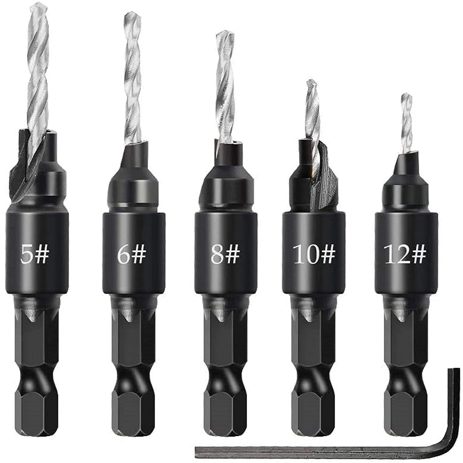 trend rank DAYREE 5PCS Woodworking Credence Countersink Drill Ch Cutter Hole Set Bit