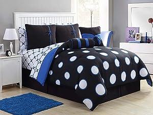 VCNY Home Sophie Polka Dot Reversible 10 Piece Bag Bedding Comforter Set, Full, Black/Blue