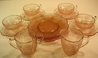 Espresso Cups/Demi Tasse (4) with Saucers (3), Dessert Plates,(4) including Sugar & Creamer Antique Peach Art Deco