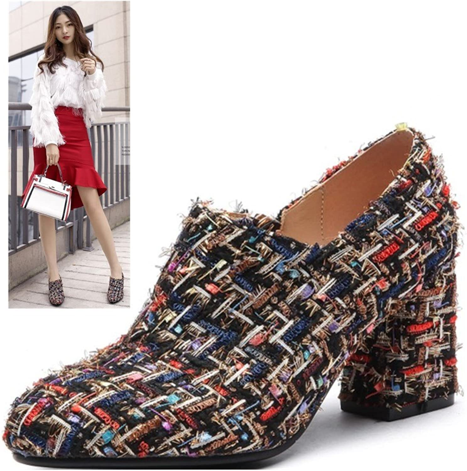AnMengXinLing Spring High Heel Ankle Boots for Women New Velvet Round Toe Fashion Square Heel Low Top Boots