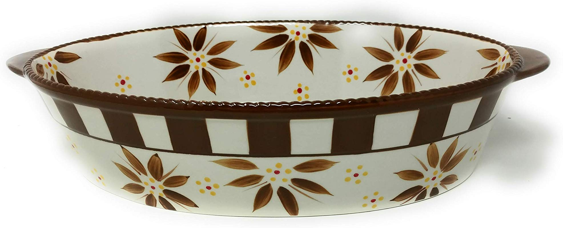 Temp Tations 3 Qt Oval Baker With Plastic Cover Old World Brown