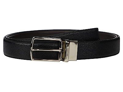 COACH Boxed Dress Plaque Cts/Reversible Belt (Black) Men