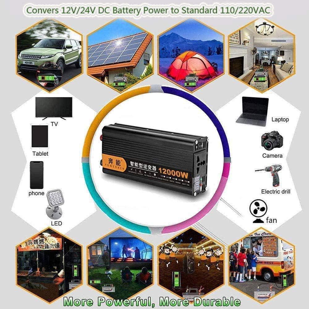 GRTBNH Modified Sine Wave Power Inverter DC 12V//24V to AC 230V 2200W//4000W//6000W//8000W//12000W Car Inverter with USB Ports and LED Digital Display,12V to 220V,2200W