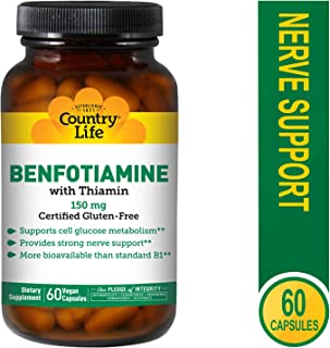 Country Life Vitamin B1 with Benfotiamine Capsules, 60 Count