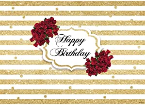 Allenjoy Red Rose Happy Birthday Backdrop Gold and White Stripes Dots 40th 50th 60th Women Birthday Party Decoration Banner Floral Photography Background 7x5ft Vinyl Photo Booth Backdrops