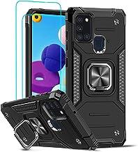 LeYi Coque pour Samsung Galaxy A21s avec [2 Pièces] Verre Trempé,étui Armour Aimant 360 degrés Anneau Support Tough PC Slim Case Silicone TPU Bumper Housse Full Body Antichoc pour Téléphone A21s Noir