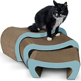 Cat Scratching Post and Lounger - Modern 3-in-1 Interactive Cardboard Scratcher and Lounge Pad - Scratch Posts Furniture Stairs for Kitten with Catnip