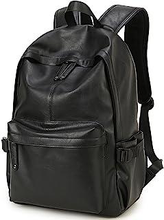Baosha BP-08 Unisex PU Leather Computer Laptop Bag 15.6 inch College School Backpack Shoulder Bags Travel Hiking Rucksack Casual Daypack Black