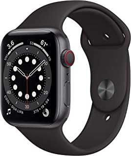 Apple Watch Series 6 (GPS + Cellular, 1.732 in) - Carcasa de aluminio gris espacial con banda deportiva negra